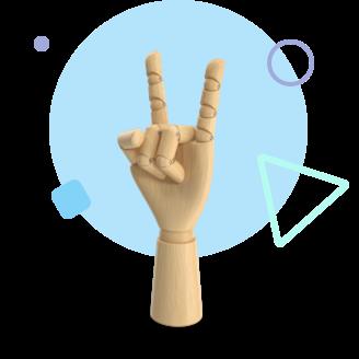 Wooden hand with elements around