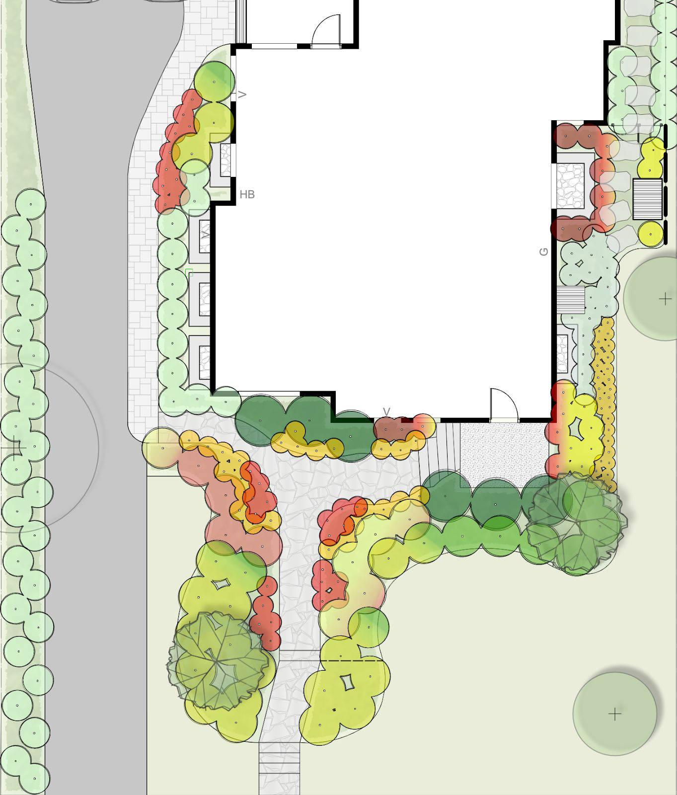 A landscape design layout.