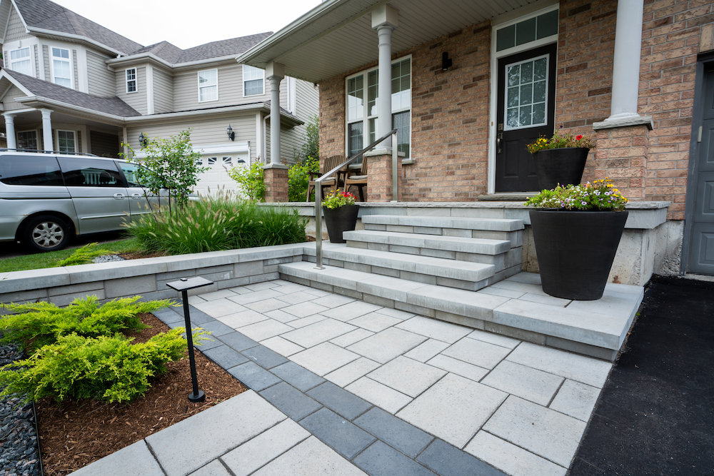 Front Steps With Railing Modern Paving Stones.