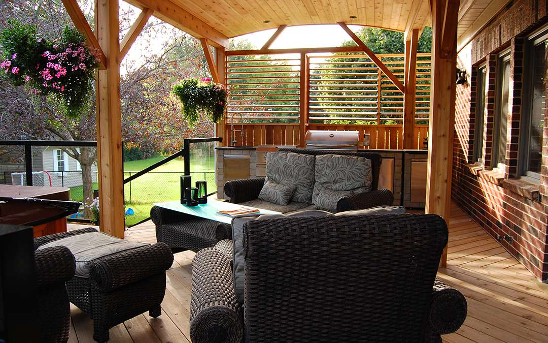 A relaxing outdoor sitting area on a covered wooden deck.