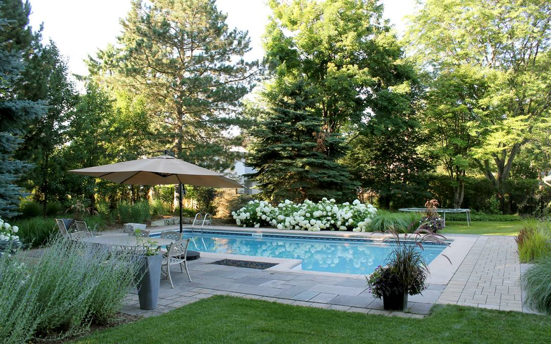 A pool surrounded by gardens and a stone patio.
