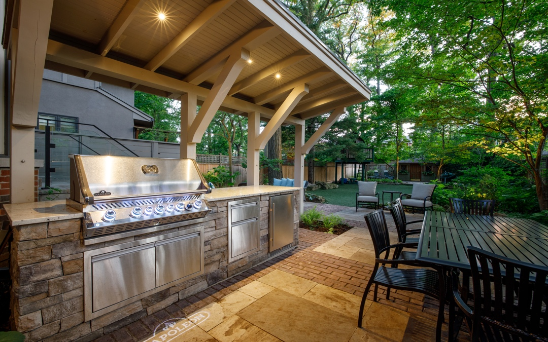 Outdoor covered BBQ with sitting area