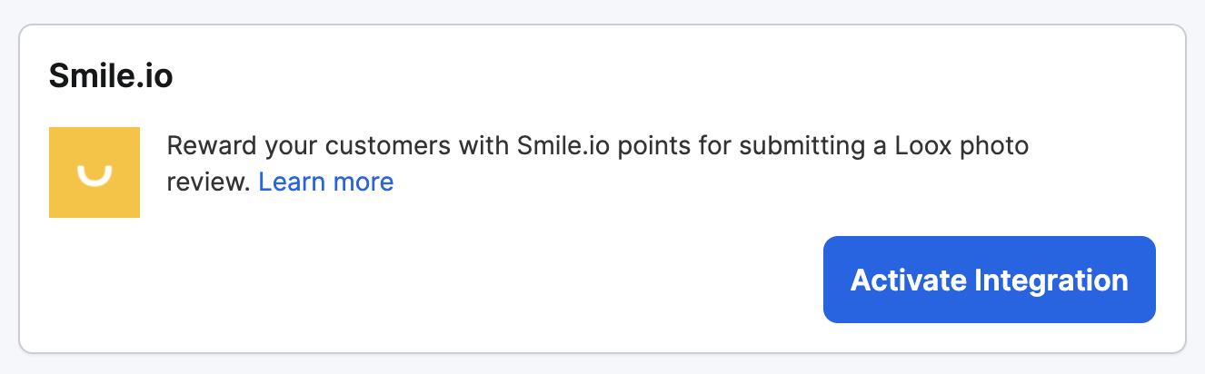 Smile integration on Loox admin