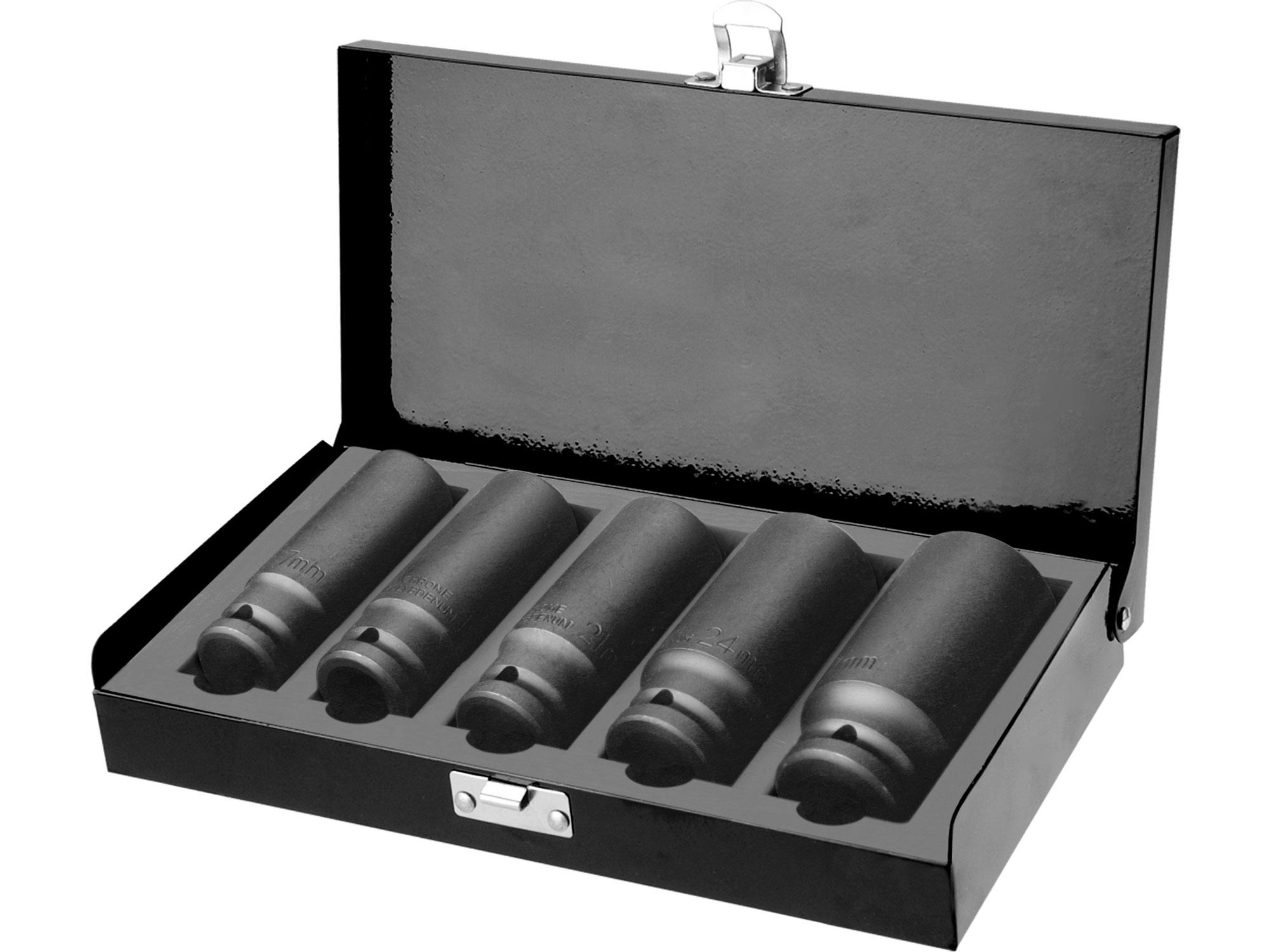 "hlavice nástrčné rázové 1/2"", sada 5ks, 17-27mm, L 79mm"