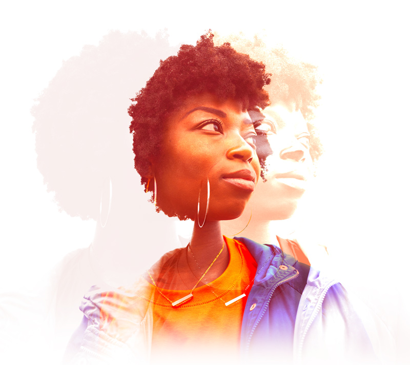 A brightly colored and layered photo of a Black woman looking off into the distance.