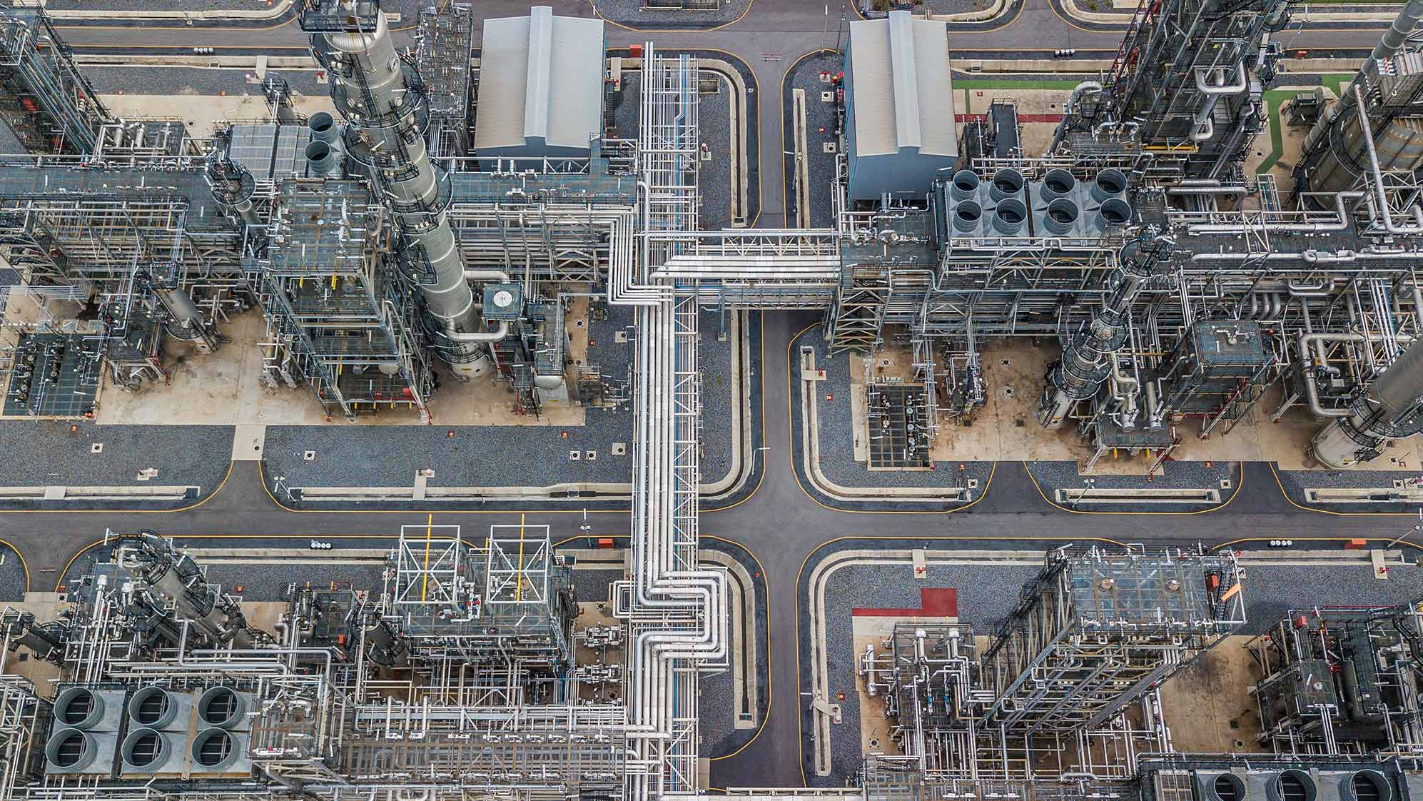 Overhead image of a large refinery