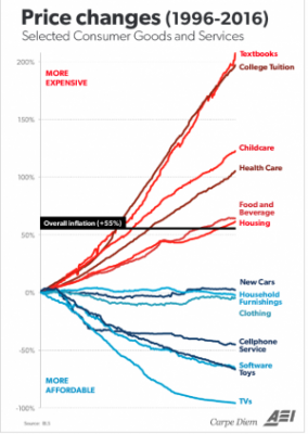 price changes in consumer goods and services (1996-2016)