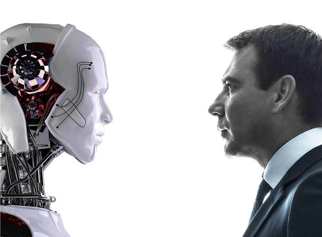 a robot and human looking at each other