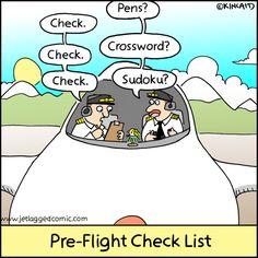 cartoon of a pre-flight pilot checklist