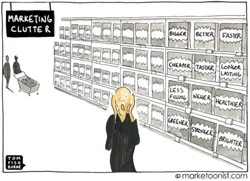 cartoon of Edvard Munch's The Scream painting in a shopping aisle