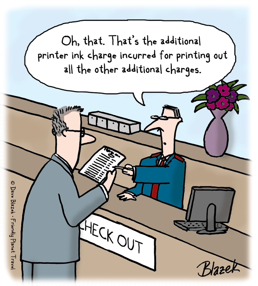 cartoon of a man being charged for printer ink