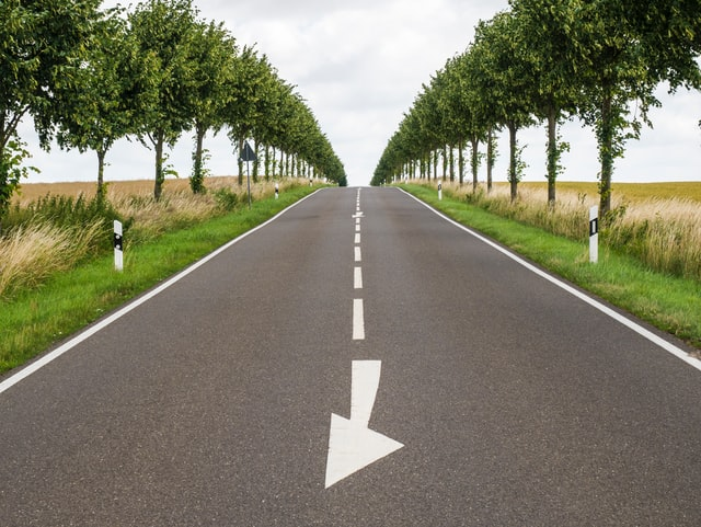 paved road surrounded by trees and an arrow pointing to the left in the center