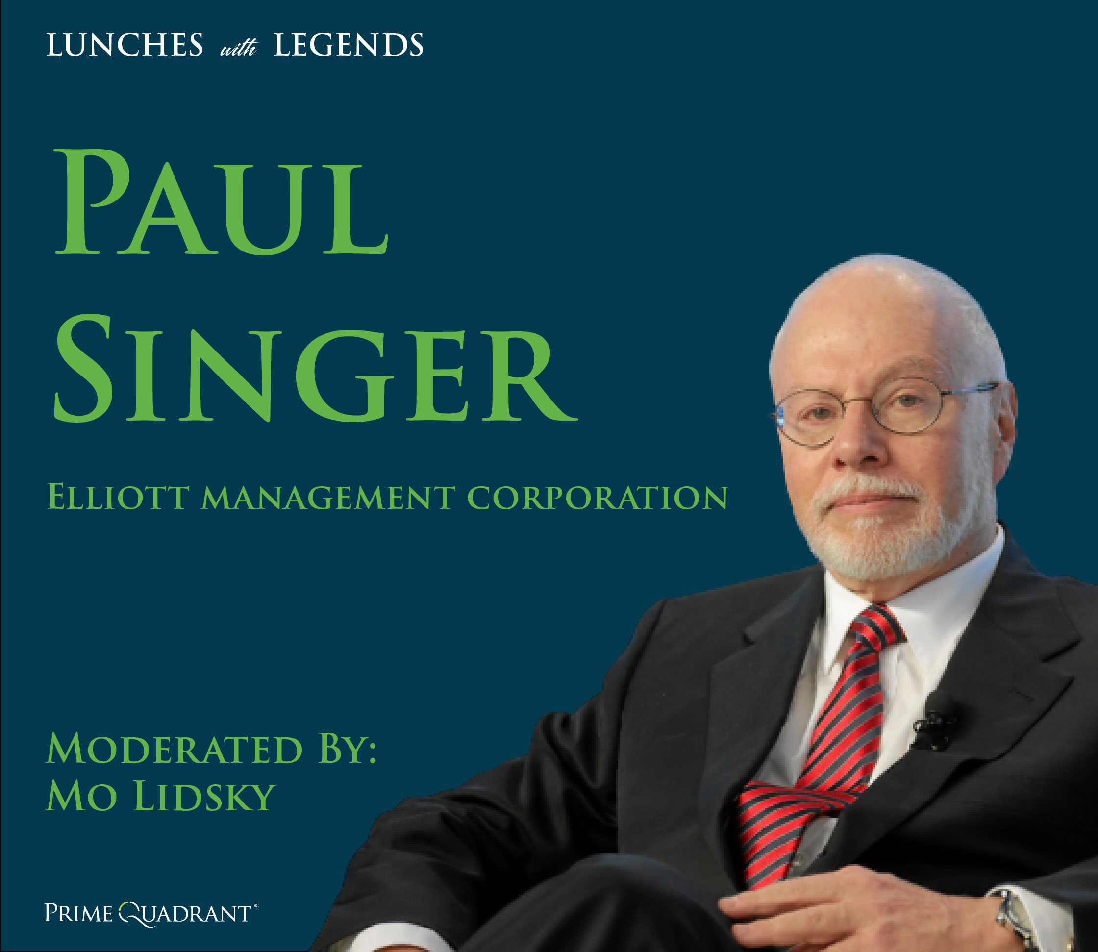headshot of Paul Singer in a black suit and red tie