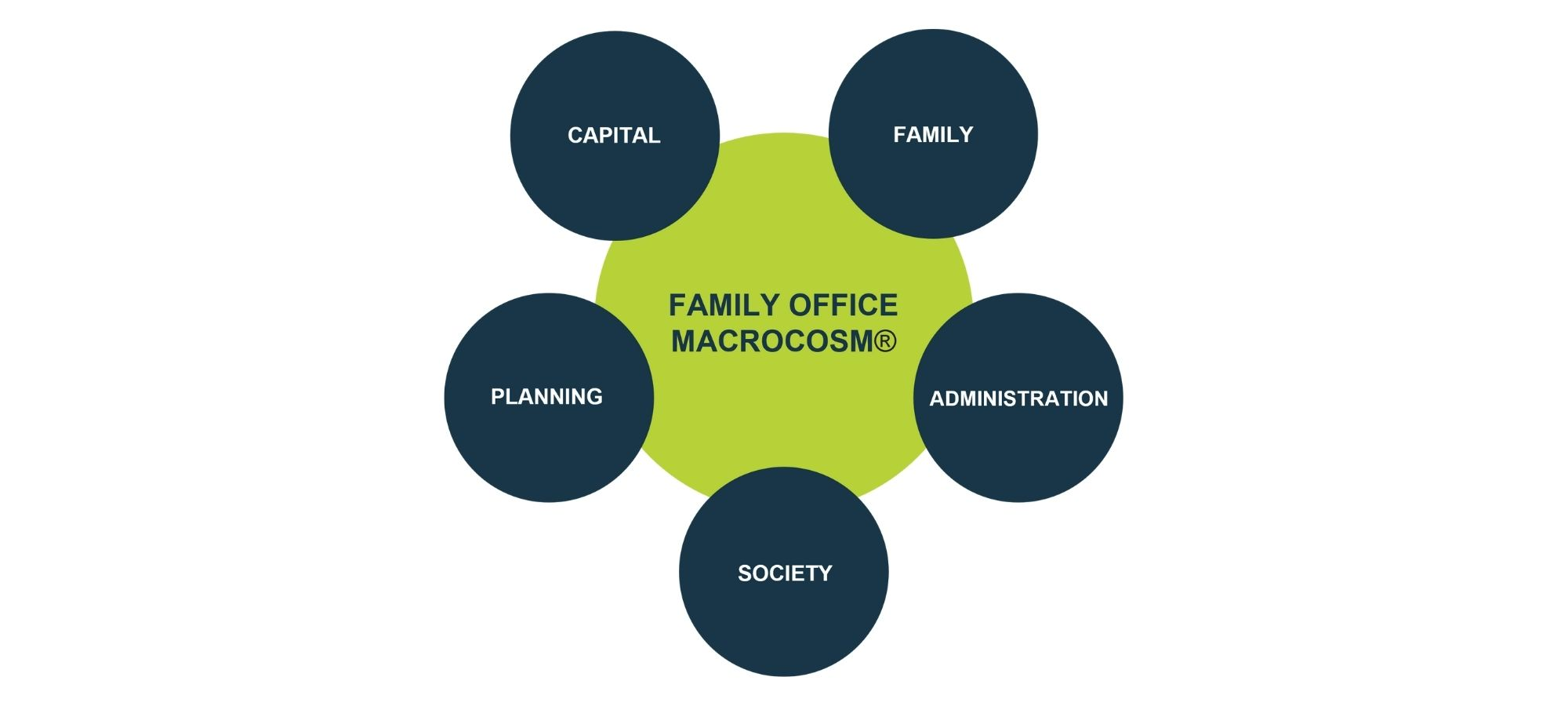 """green circle with """"Family Office Macrocosm®"""" in the center and 5 smaller blue circles around it that say """"Family"""", """"Administration"""", """"Society"""", """"Planning"""" and """"Capital"""" distributed proportionally"""