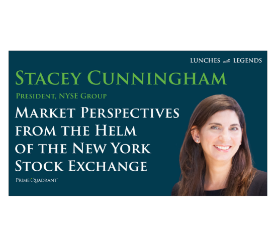 """headshot of Stacey Cunningham, President of NYSE Group on the right and text that says """"Market Perspectives From the Helm of the New York Stock Exchange"""" on the left"""