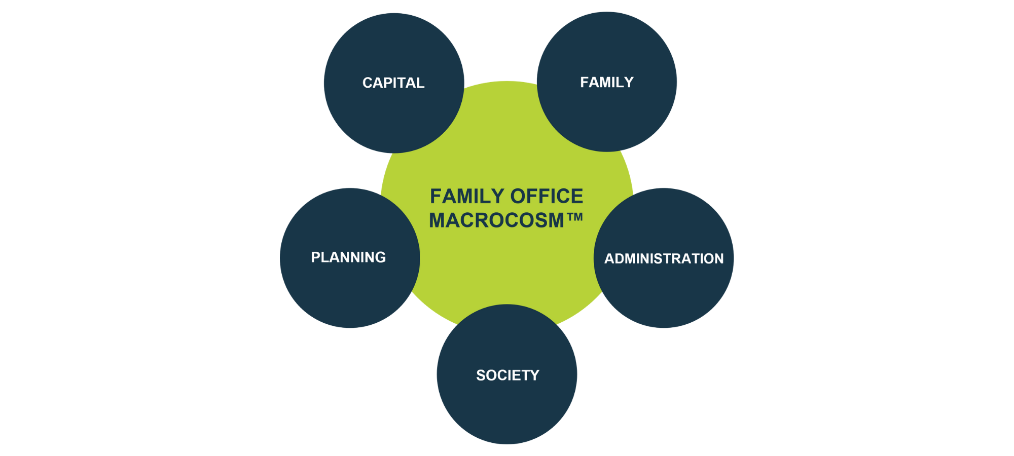 """green circle with """"Family Office Macrocosm"""" in the center and 5 smaller blue circles around it that say """"Family"""", """"Administration"""", """"Society"""", """"Planning"""" and """"Capital"""" distributed proportionally"""