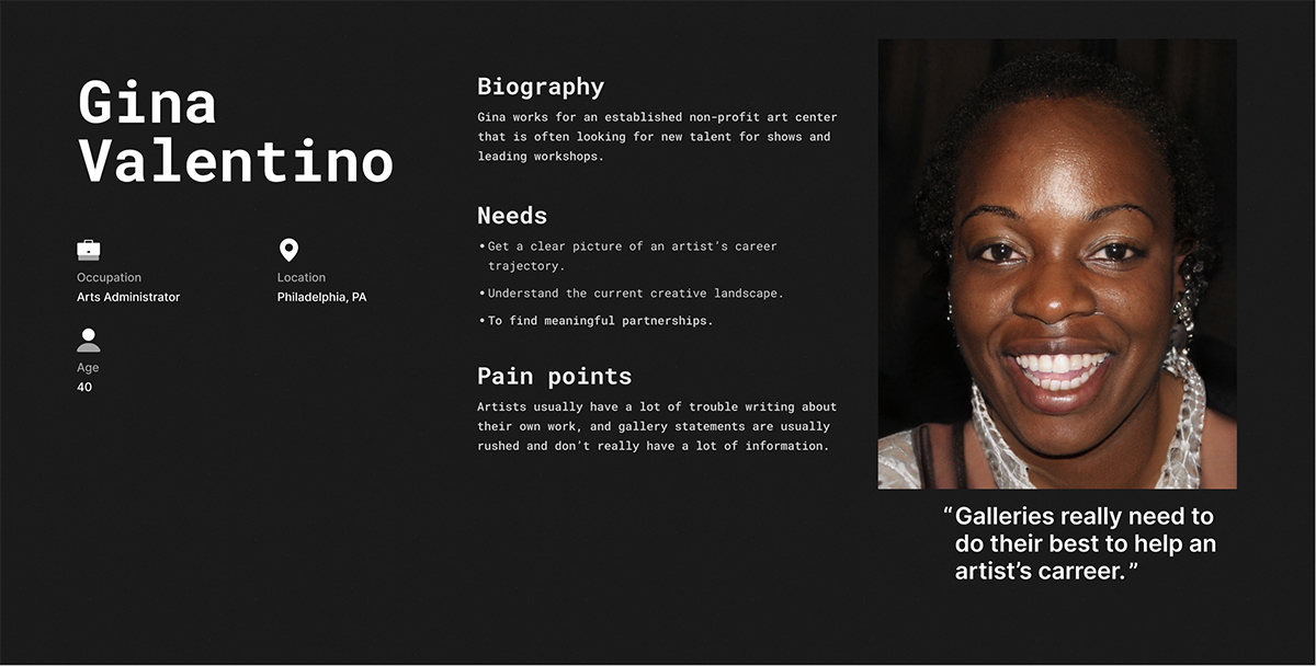 A user persona, a UX deliverable with an image of an African American woman with her demographic information, biographic information, needs, and painpoints