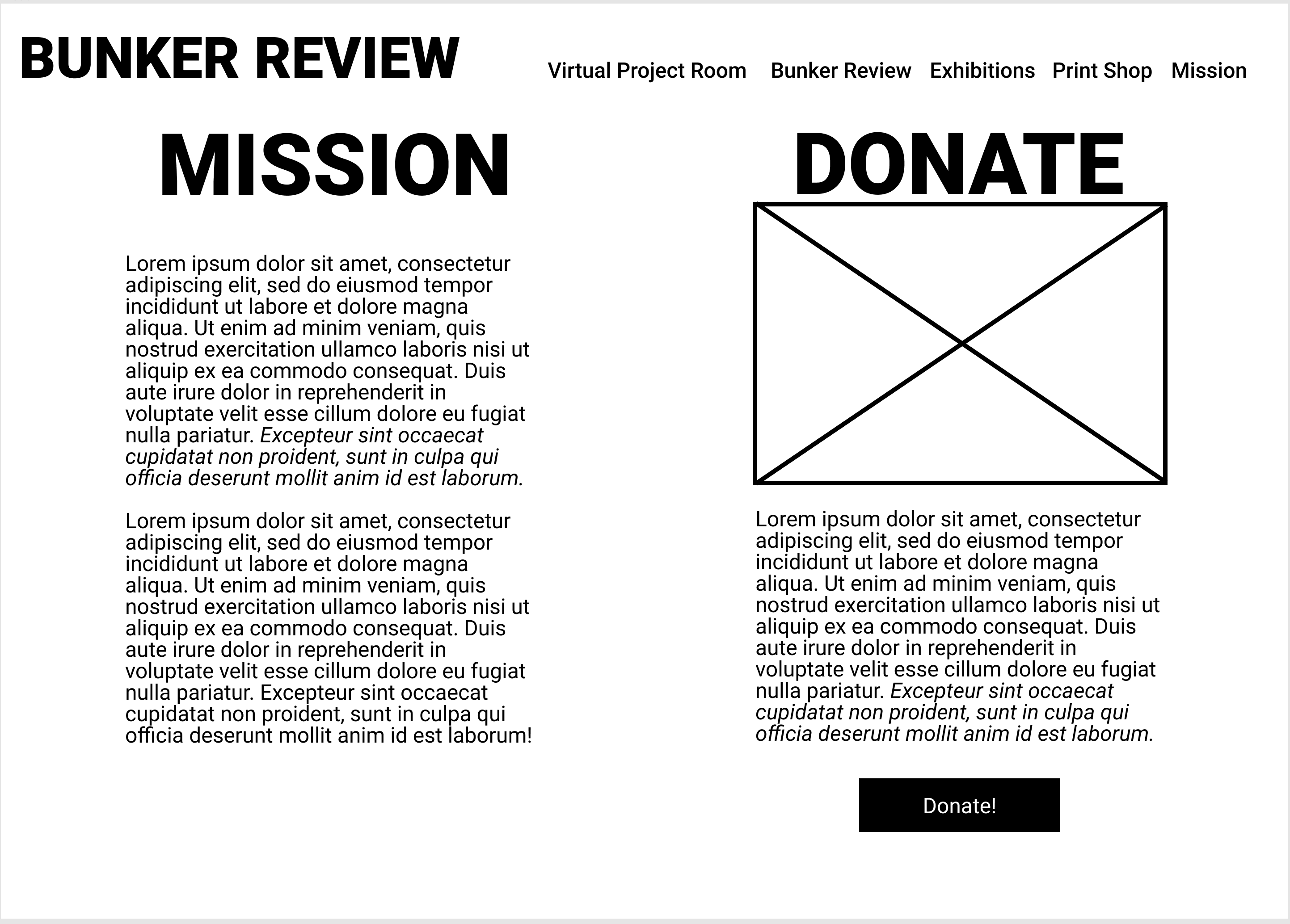 Wireframes for a website's donation page
