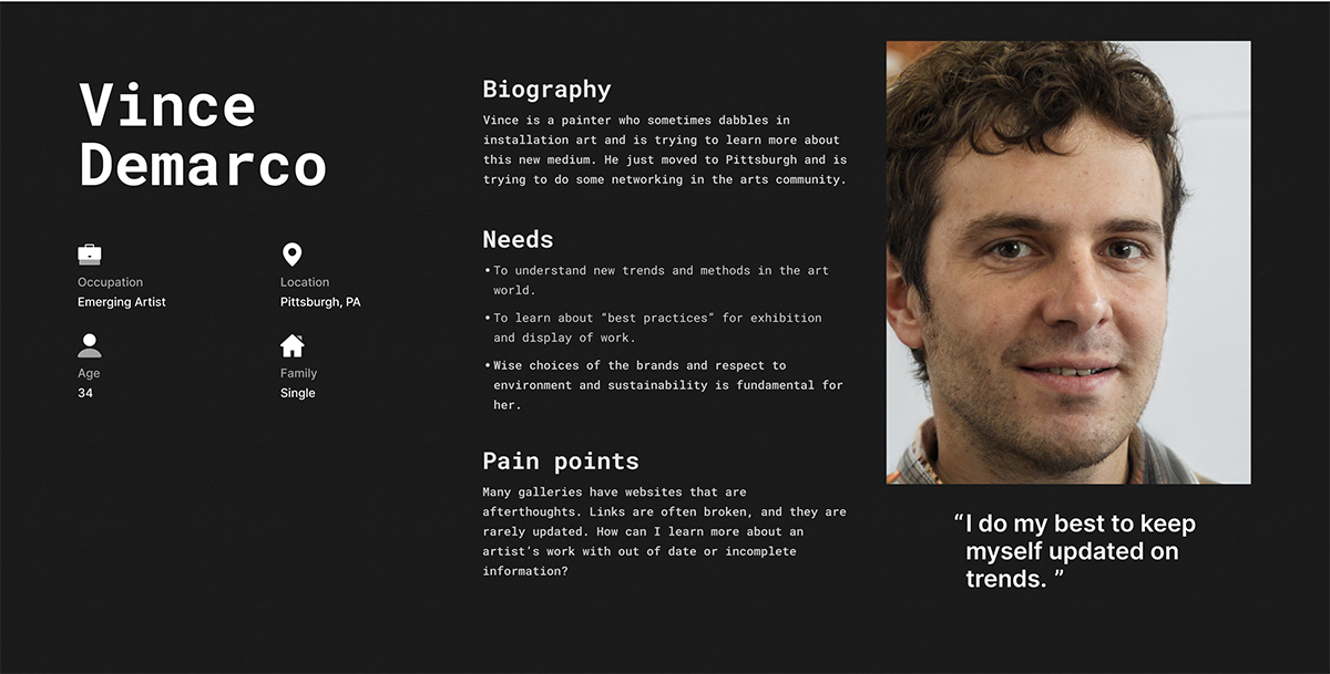 A user persona, a UX deliverable with an image of a caucasian man with his demographic information, biographic information, needs, and painpoints