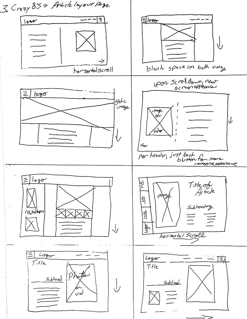 8 sketches for solutions of what a website could look like