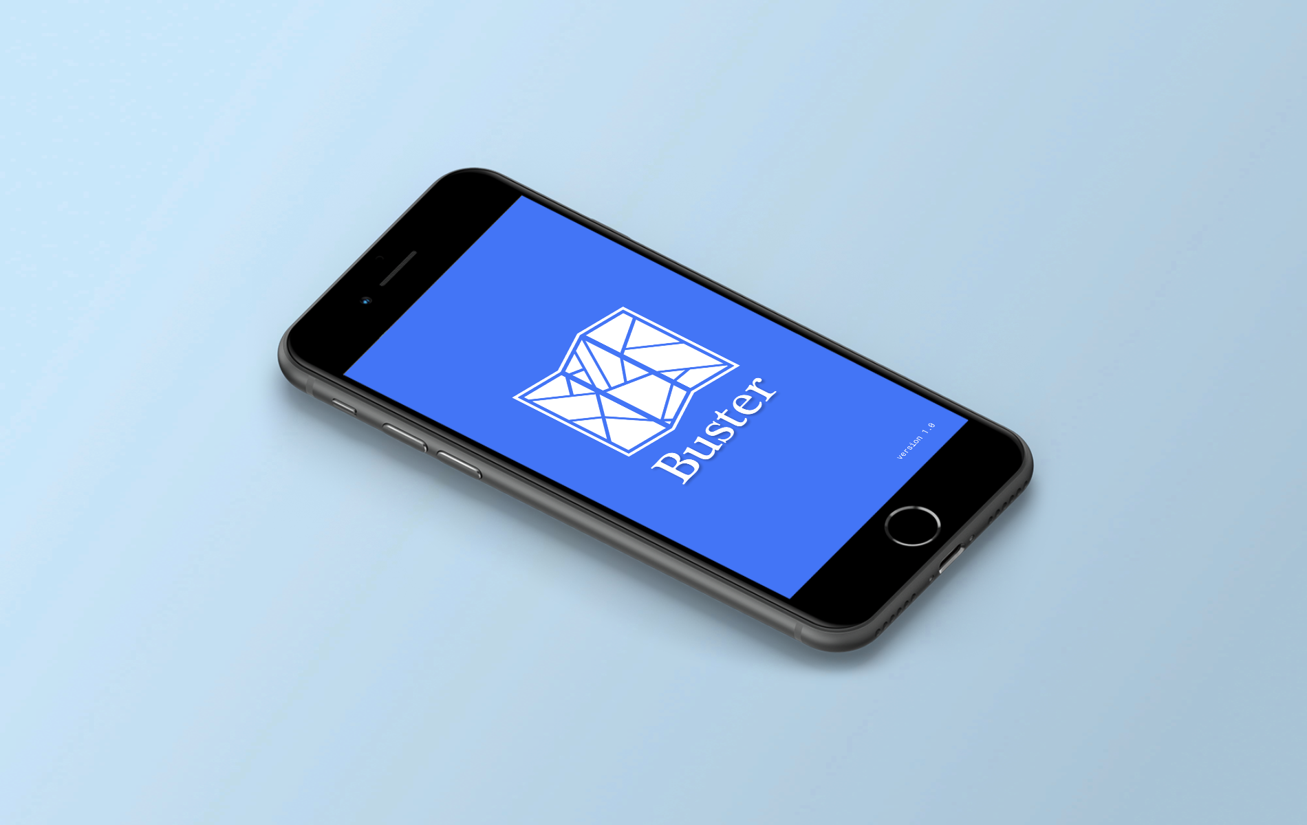 Iphone on a blue background with the logo for a bus app on the screen.