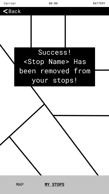 """Image of an app screen with the message """"Sucess! Stop name has been removed from your stops!"""""""
