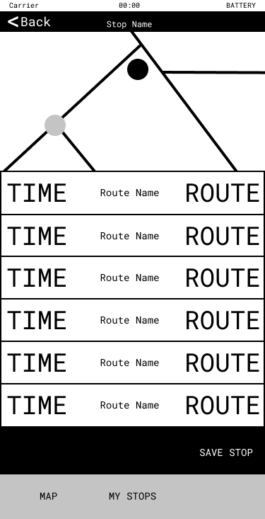 Image showing a map and bus arrival times on a phone screen