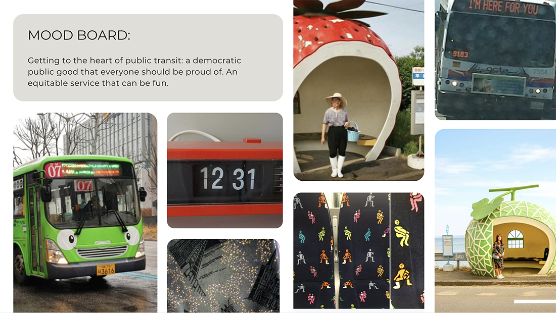 Mood board for an app. It shows a grid of images of a smiling bus, a vintage alarm clock, fun upholstery and fruit shaped bus stops.