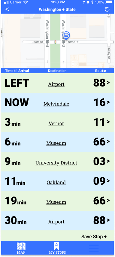 App showing bus arrival times