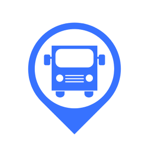A map pin with a bus contained in it.