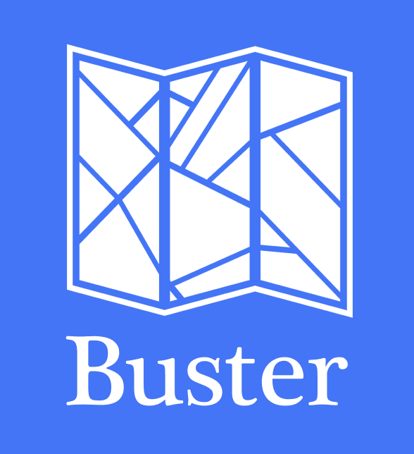 An illustration of an unfolded map with the word BUSTER underneath.