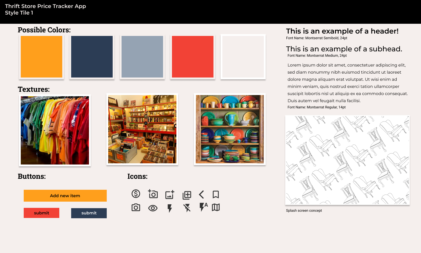 This is a style tile. It is showing how the app will look, with color swatches, typography samples, and icons and buttons.