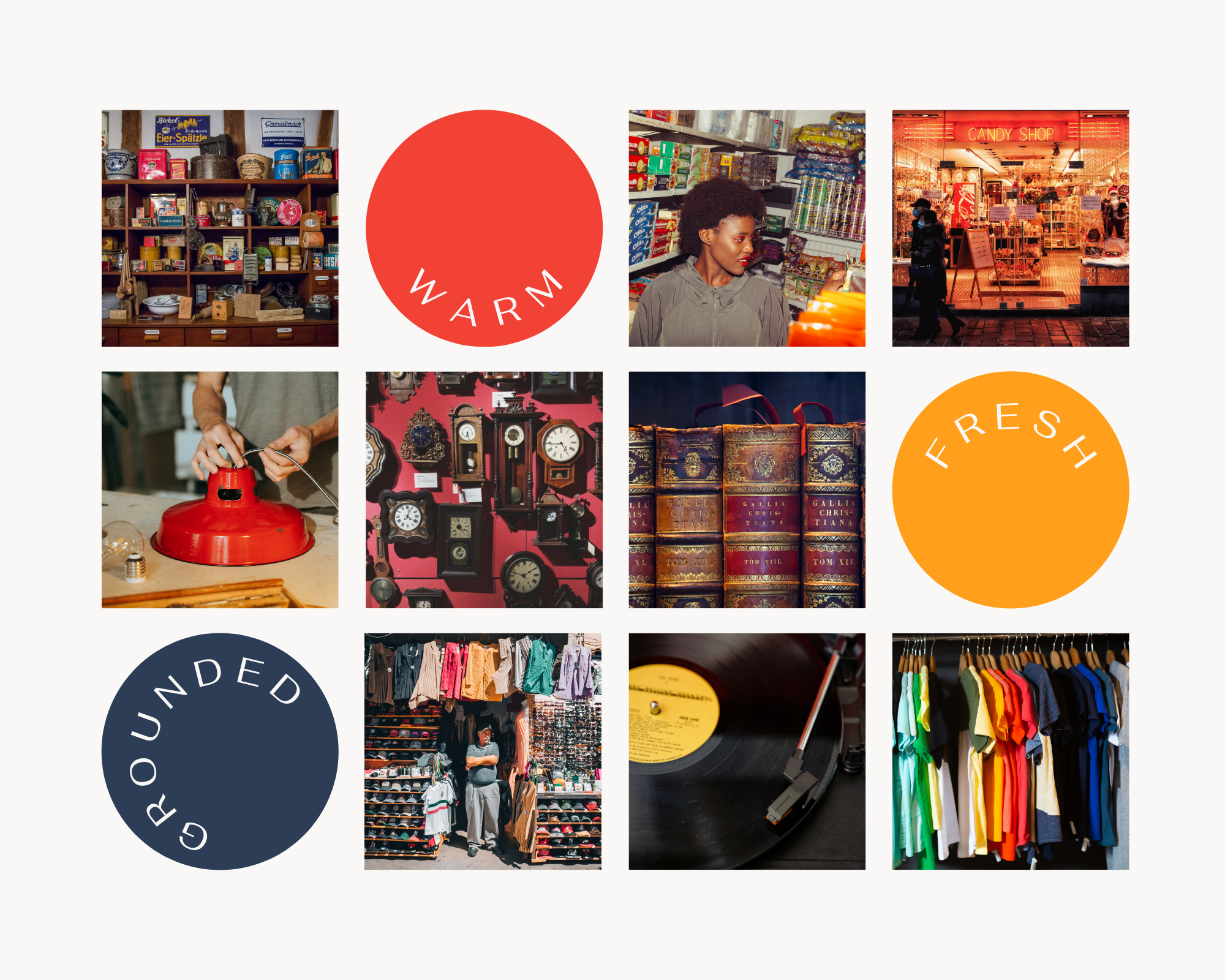 A mood board. There are several images in a grid of people at antiques stores as well as some images of clocks, organized clothes, and people working on a lamp.