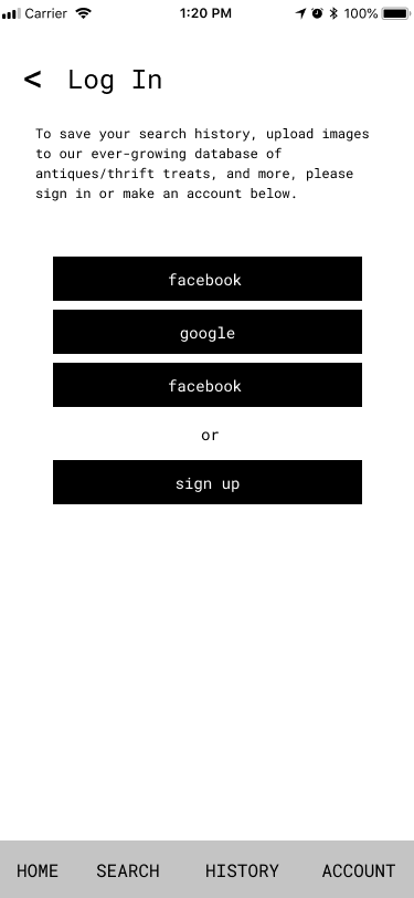 A log in screen for an app.