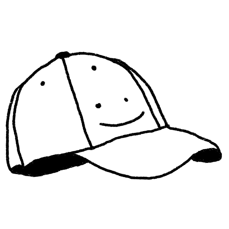 Illustration of a ball cap with a smily face on it.
