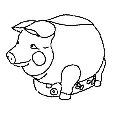 Illustration of a pig shaped cookie jar
