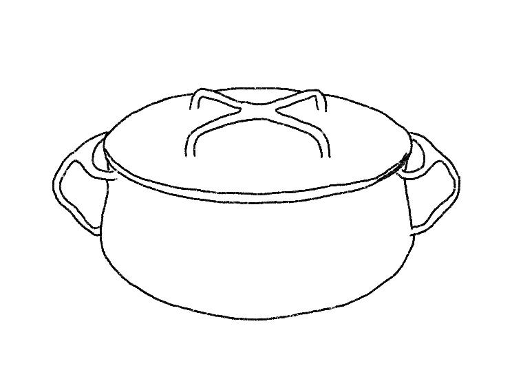 Illustration of an enameled cast iron pot.