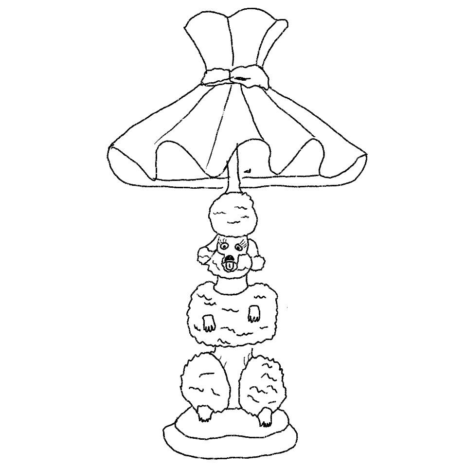 Illustration of a lamp shaped like a poodle