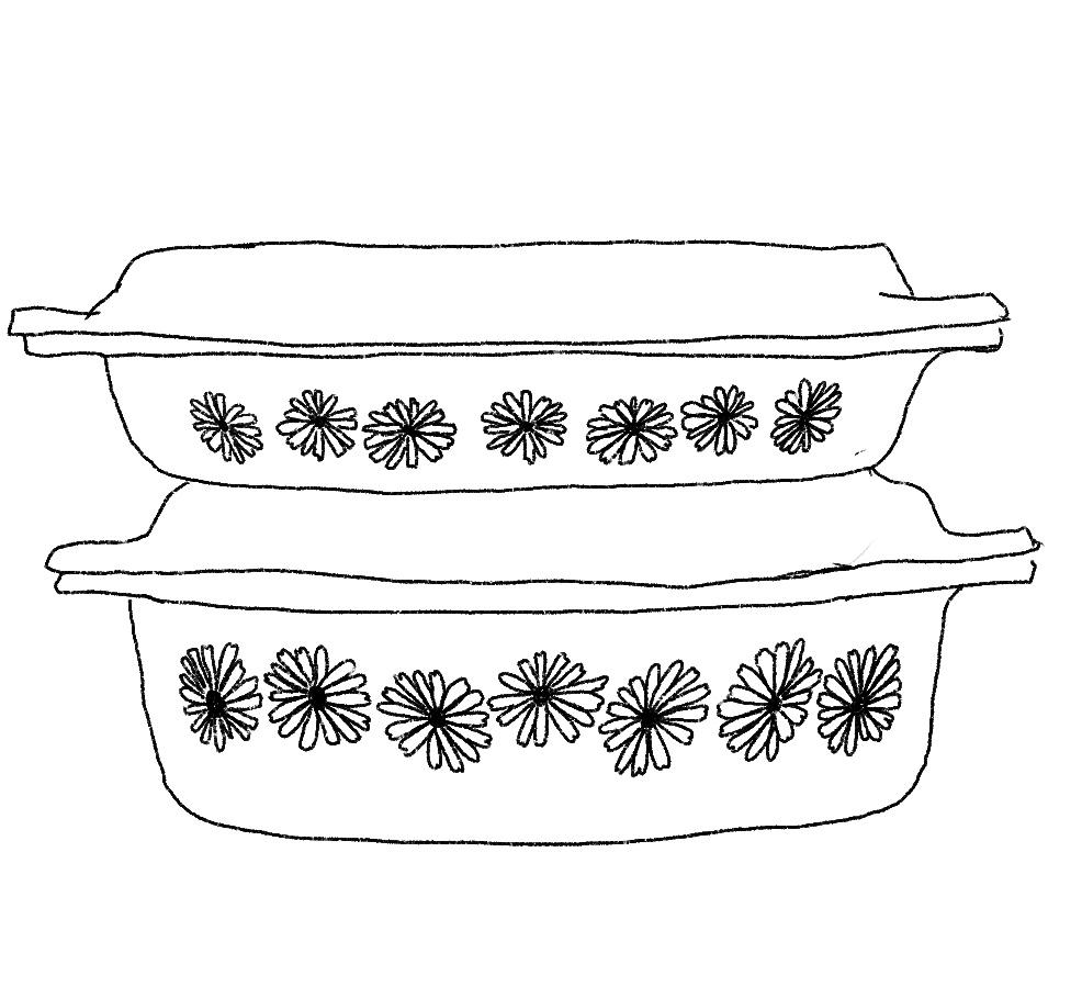Illustration of some corningware