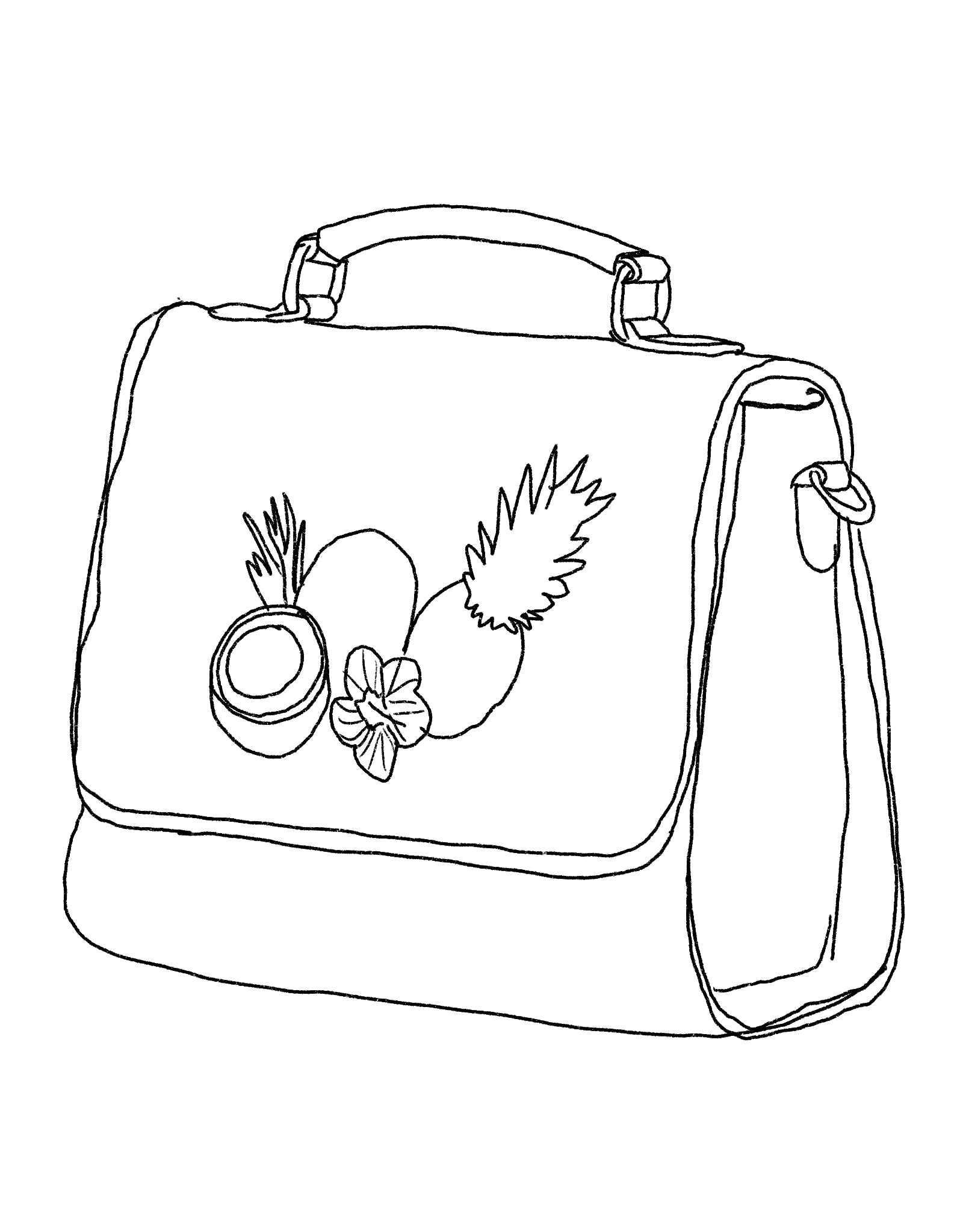 Illustration of a purse with fruit on it.