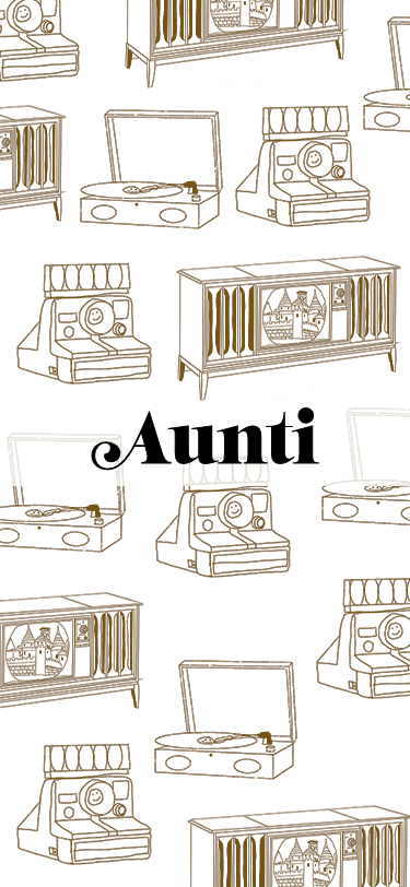 Loading animation for an app. There are illustrations and the text Aunti, the name of the app.