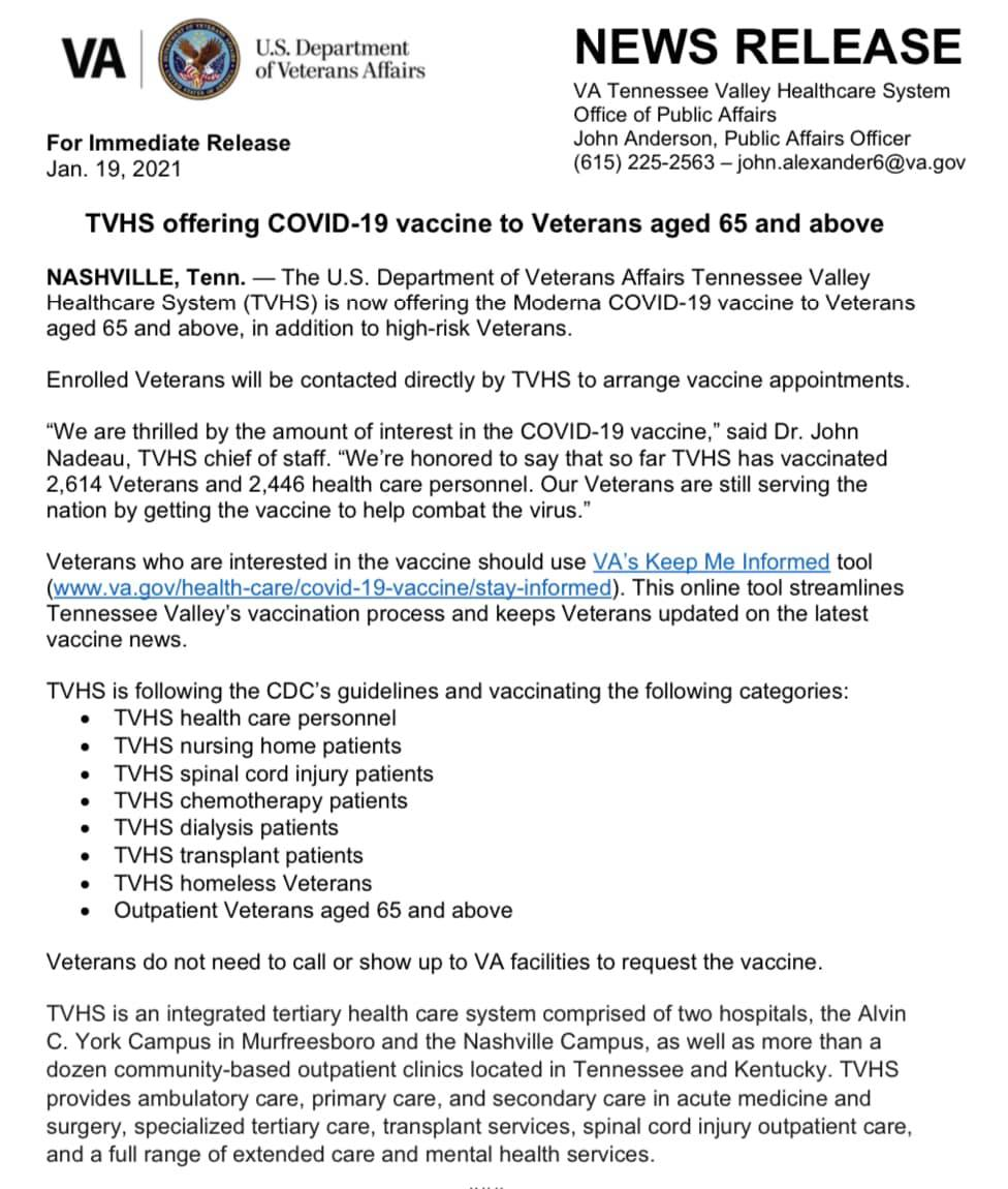 TVHS Offering COVID-19 Vaccine To Veterans Aged 65 And Above
