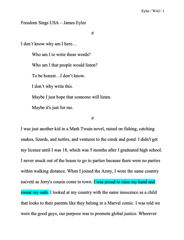 James Eyler's Story