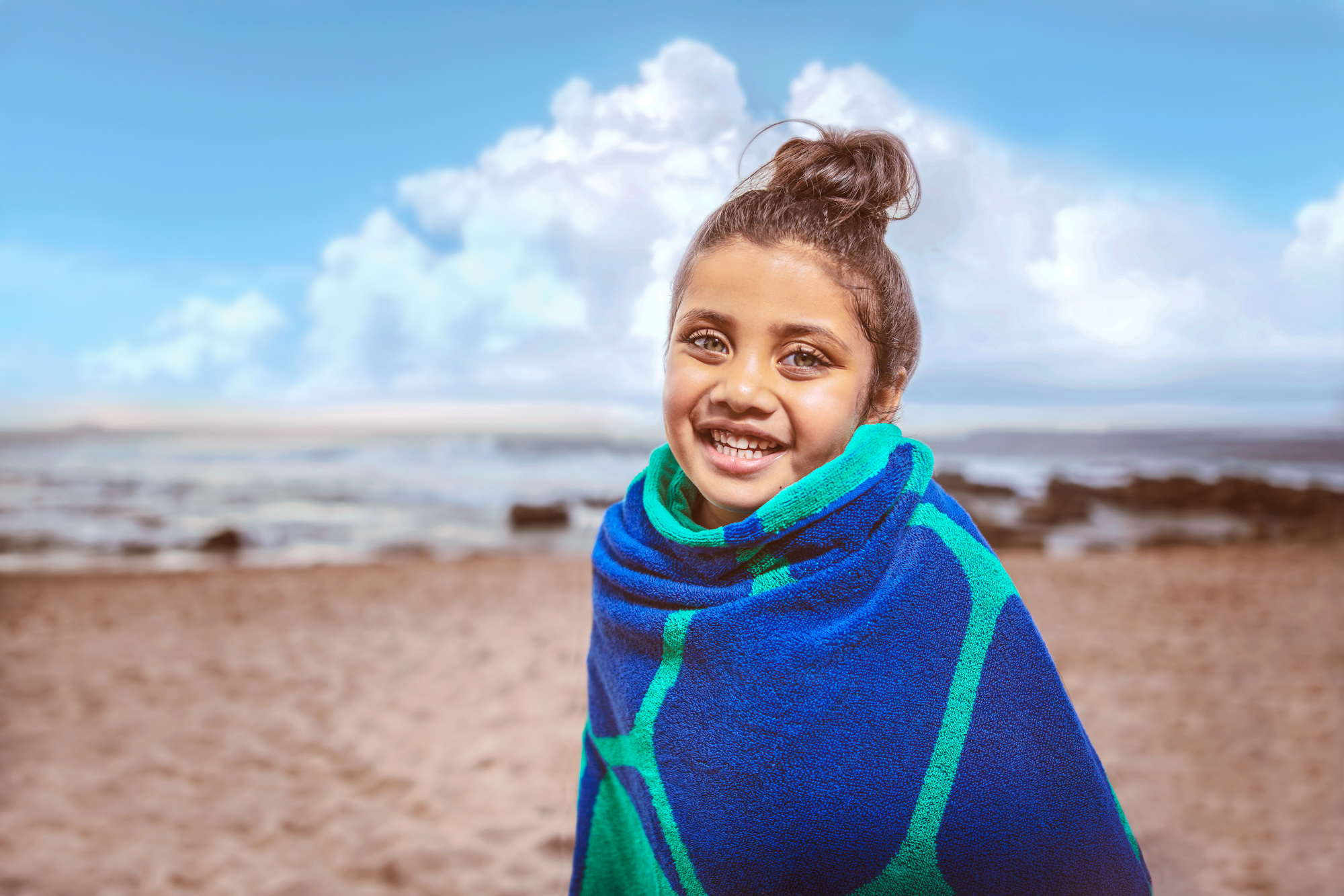Image of girl on the beach at the Beverly Hills Hotel in uMhlanga Rocks, Durban for  Tsogo Sun's Image Library & Content Library by Michelle Wastie Photography