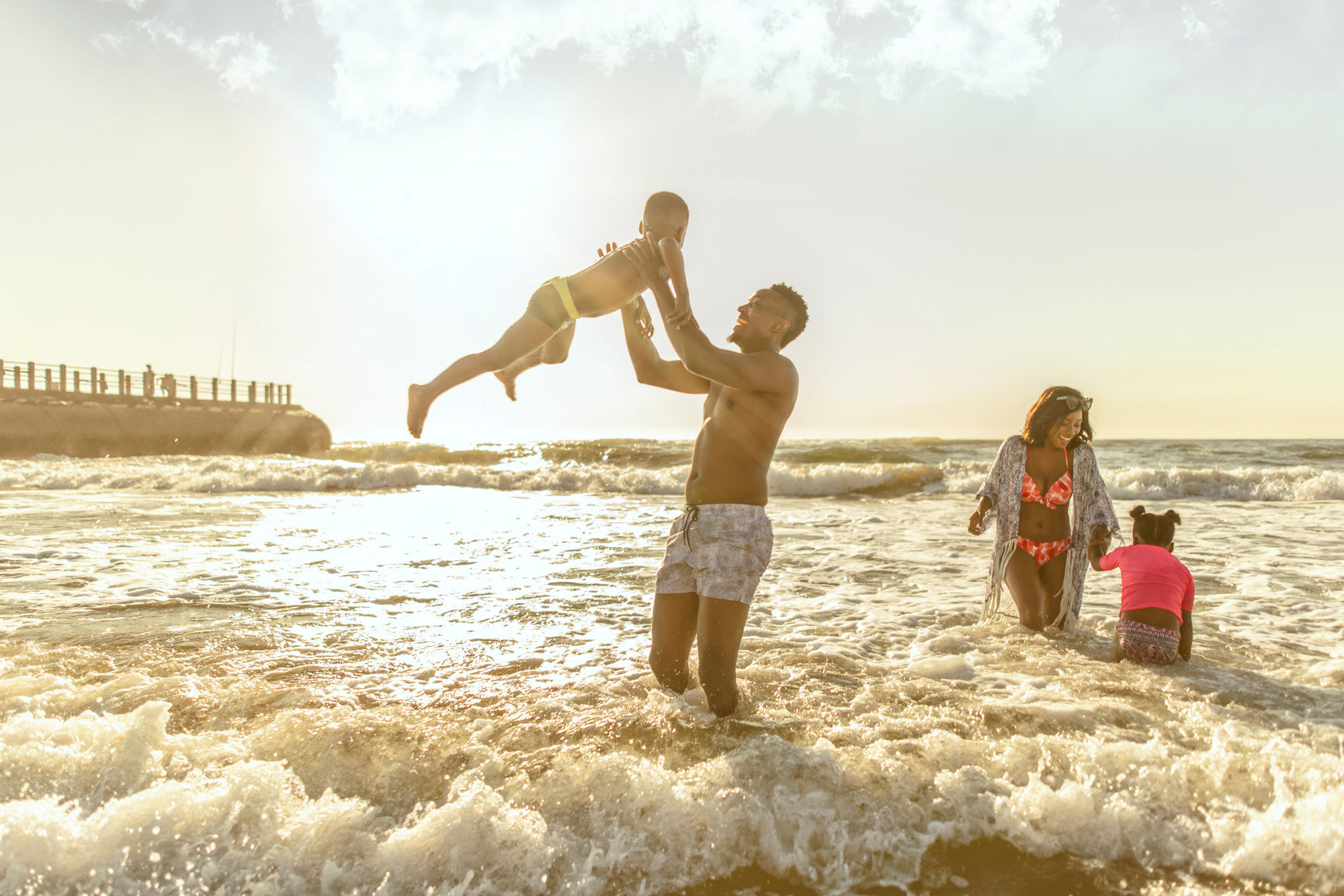 Image of family having fun on the beach in Durban for Tsogo Sun's Image Library & Content Library by Michelle Wastie Photography
