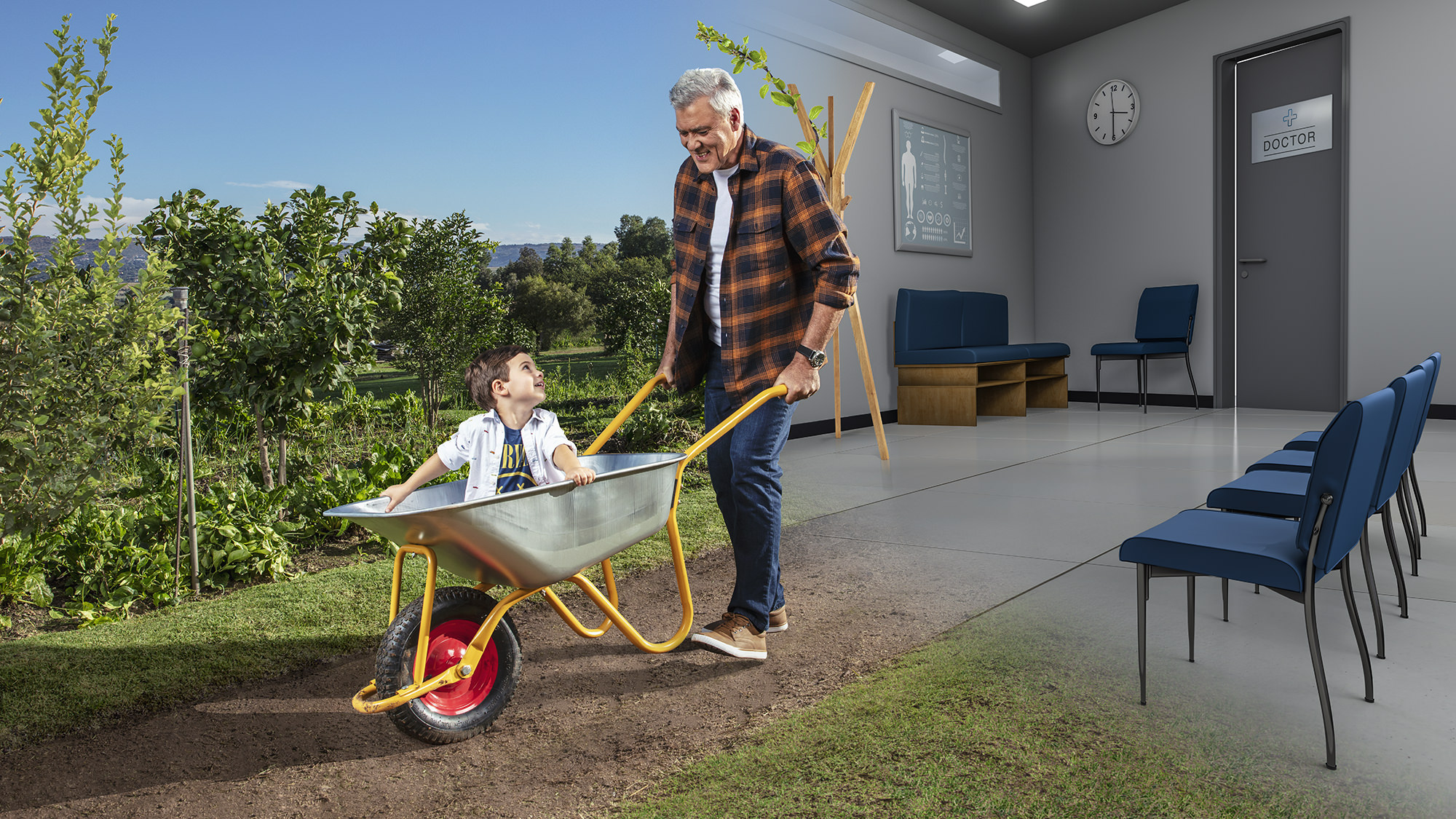 Image of a grandfather pushing grandson in a wheelbarrow for the Palexia campaign, produced by I Am Media.