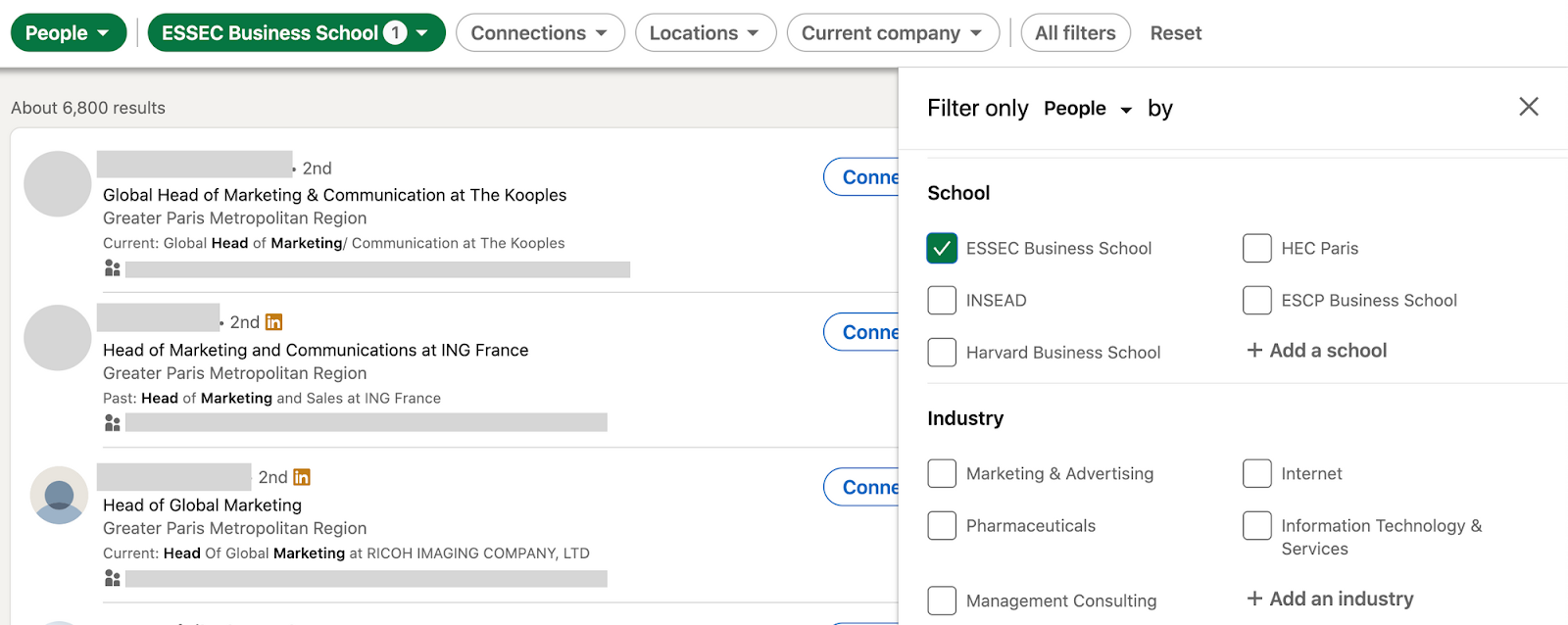 Filter your LinkedIn prospecting