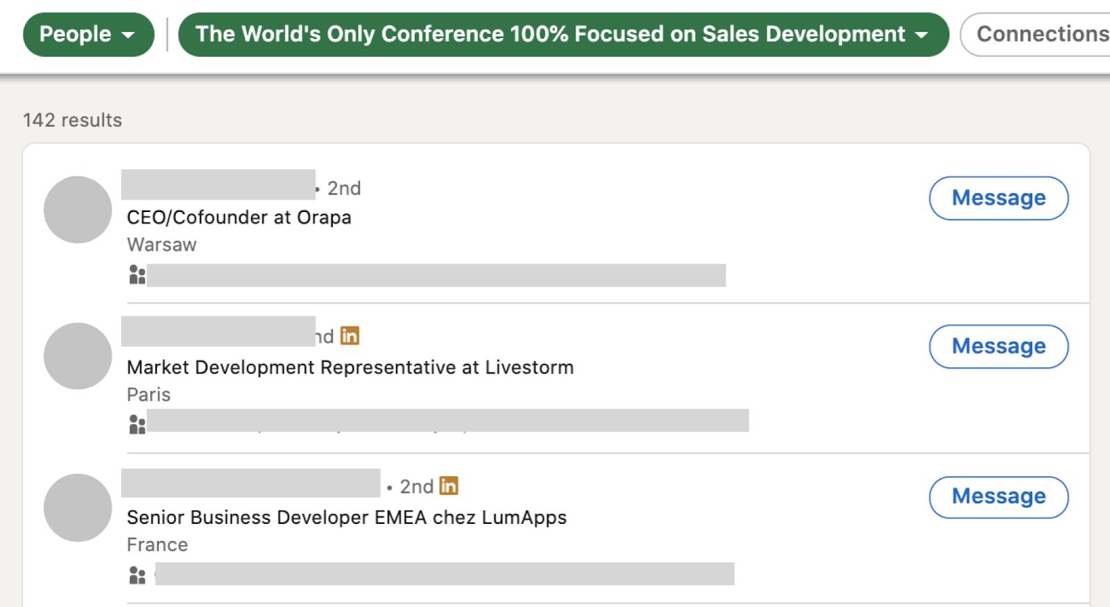 LinkedIn prospect list for your prospection