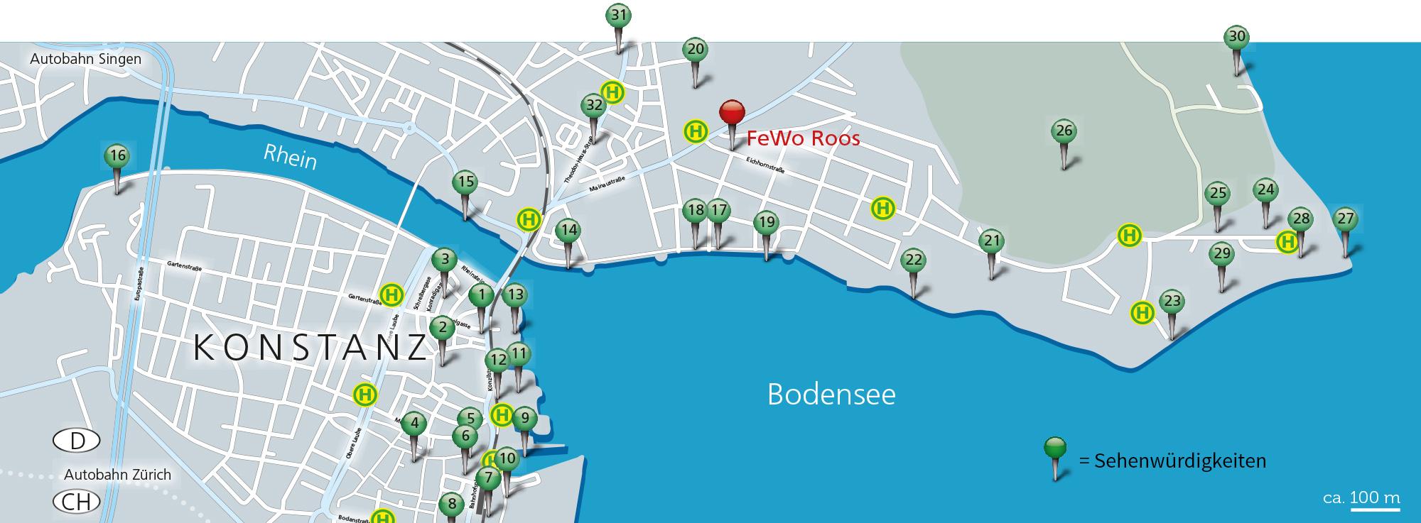 Stadtplan Konstanz am Bodensee der Fewo Roos