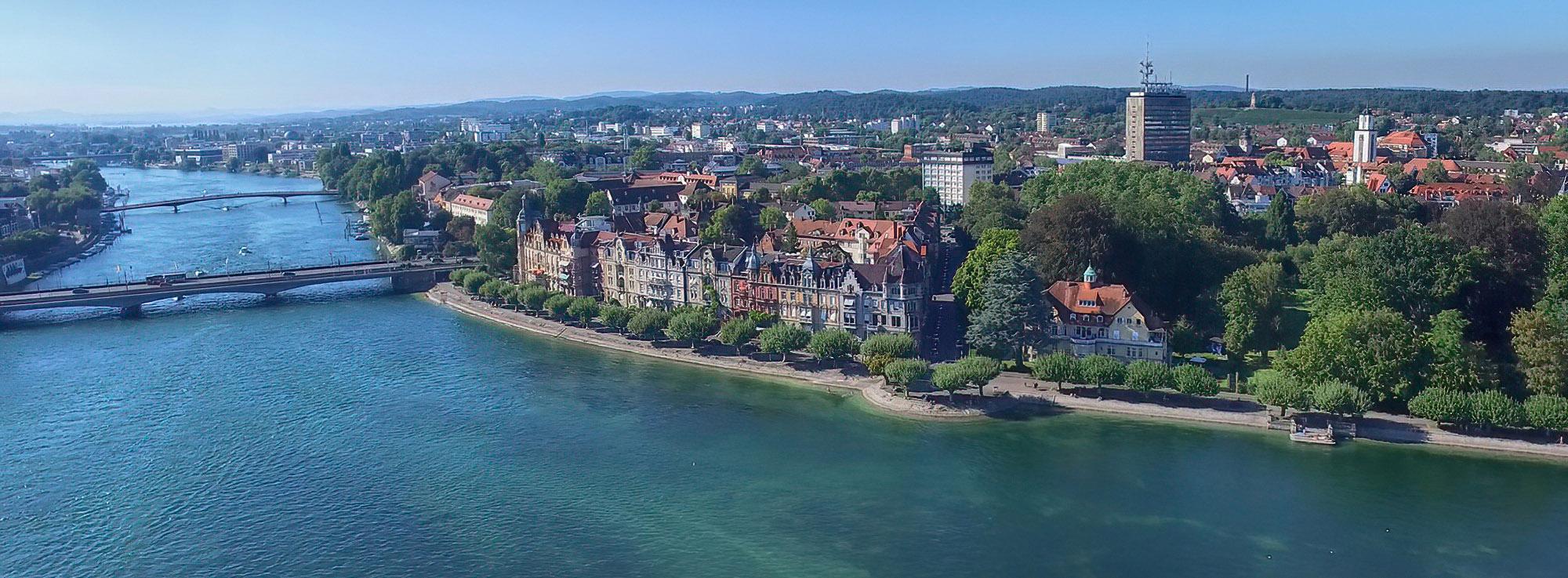 Luftaufnahme Konstanz am Bodensee mit der Seestrasse